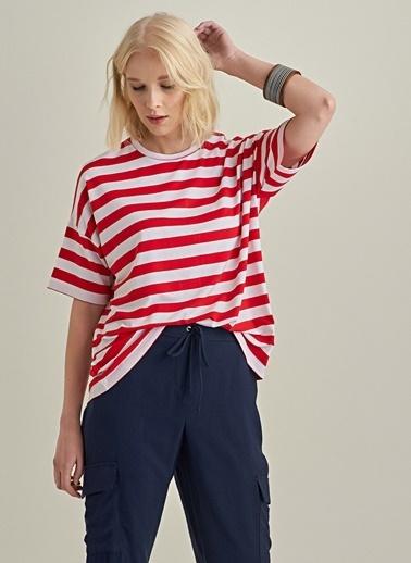 NGSTYLE Çizgili Basic Bluz Kırmızı